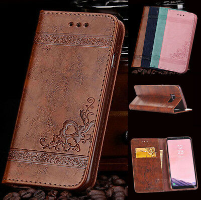 For Samsung Galaxy S7 S8 S9+ Flip Leather Magnetic Card Wallet Case Stand Cover