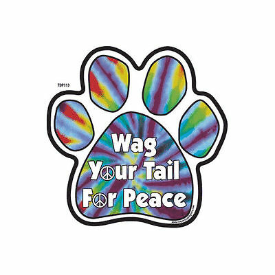 Wag Your Tail For Peace Tie Dye Dog Paw Car Magnet