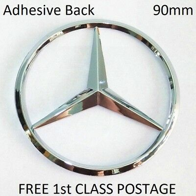 Adhesive Mercedes Rear Boot Emblem Badge C E A  S CLK SLK CLASS 90mm