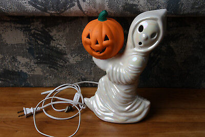 Vintage Ceramic Ghost w/ Pumpkin Halloween Decor Light Up Works