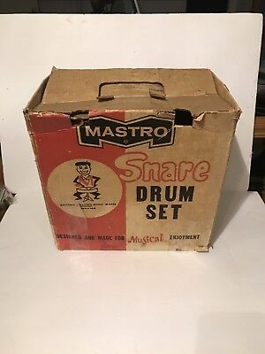 Vintage Mastro Snare Drum In Original Box With Drumsticks And Instructions Red
