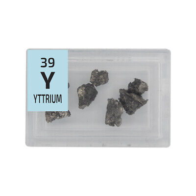 Yttrium Metal natural pieces 99.9% Element pure Sample in Periodic Element Tile