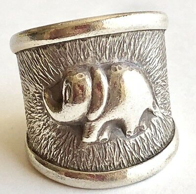 Lucky Elephant Ring Band Sz 8.75 Trunk Up Sterling Silver 925 VTG Adjustable