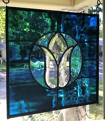 """Stained Glass Window Suncatcher with Crystal Clear Bevel Tulip 10"""" x 10"""" BLUE"""