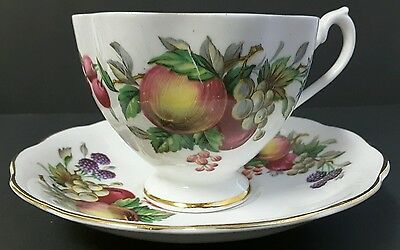 QUEEN ANNE BONE CHINA TEA CUP AND SAUCER, Fruit with Gold Trim