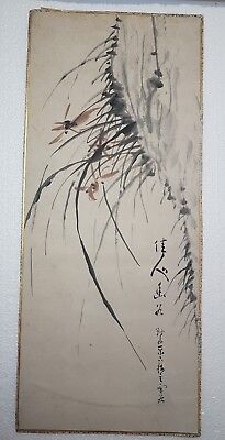 A Lovely 19th Century Meiji period Artists Sumi-e Ink Painting Of Orchid flowers