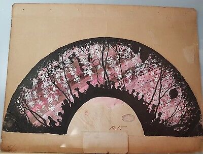 An Original ink & Colour Meiji period Kyoto Fan Painting.
