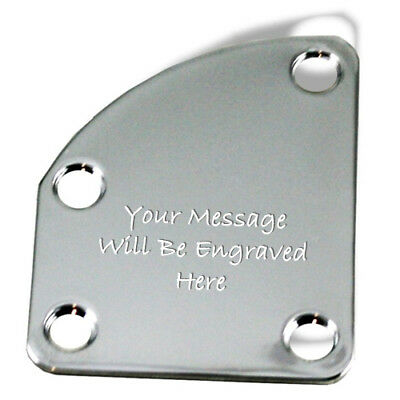 Custom Engraved Etched CHROME PLATED Curved Guitar Neck Plate