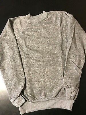 VTG 80s Youth Kids Gray Grey Tri Quad Blend Heather Gray Sweatshirt Size 14-16