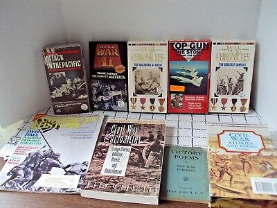 Civil War WW II And Pearl Harbor Lot of 13 Items VHS Tapes Books and Magazines