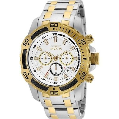 Invicta 24859 Men's 51mm Pro Diver Chronograph White Dial Stainless Steel Watch