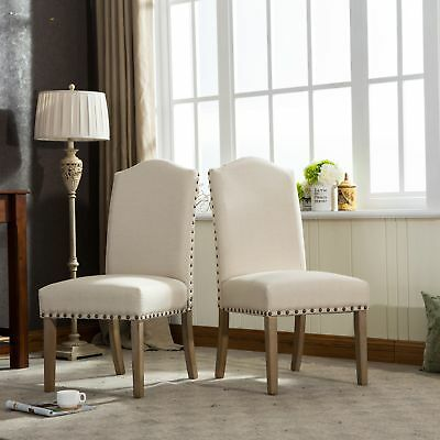 Mod Urban Style Solid Wood Nailhead Tan Fabric Padded Parson Chair, Set of 2