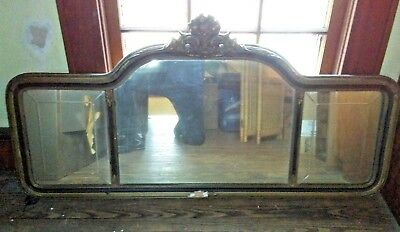 Antique mirror, 3 piece etched glass, needs refinishing