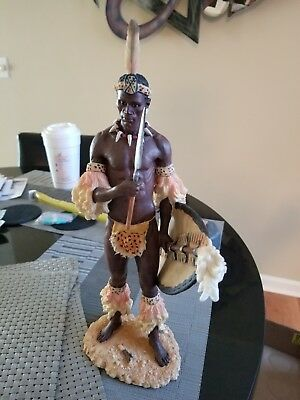 Tribes Of The World African Zulu Warrior 13.5 Inches Tall