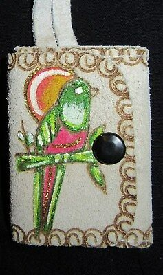 "Vintage PARROT SUEDE COIN PURSE Key Chain ""LITA"" Chiapas Mexico FOLK ART"