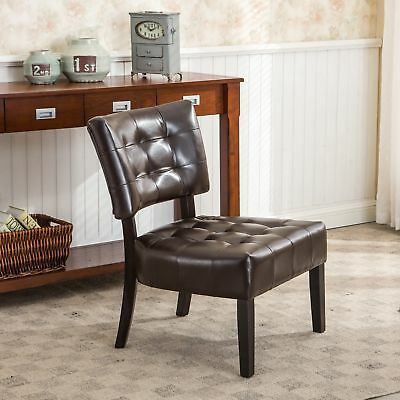 Brown Blended Leather Tufted Back Accent Chair with Oversized Seating