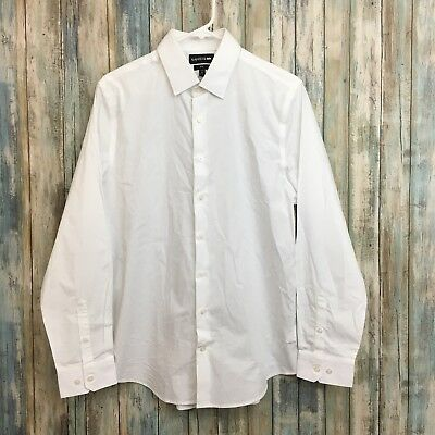 Express Performance Stretch Slim Mens XS 13-13.5 White Dress Shirt Dirty