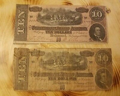Confederate States Of America $10 Note Richmond February 17 1864 Lot Of (2)