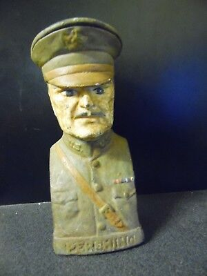 Vintage Cast Iron Bank General Pershing Still Piggy Bank