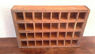 Vintage wooden printing, jewellery, display ornament tray 32 section