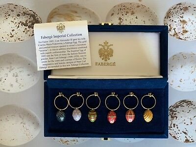 Faberge Imperial Enamel Egg Wine Charms. New. Set Of 6 In Gorgeous Velvet Box