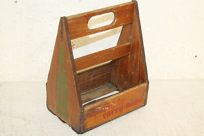 Early Vintage Wooden 7 UP Six Pack Bottle Carrier