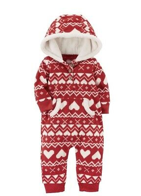 2245599352 Carter s Baby Girl Fair Isle Fleece Hooded Jumpsuit Red White Hearts 3  Months