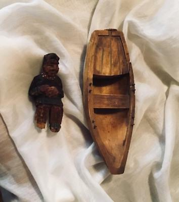 Vintage Hand Carved Wood Row Boat~Fisherman~Artist Marked