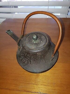 ANTIQUE  Cast Iron Tea/Water/Cooking Kettle Brown Japanese Asian