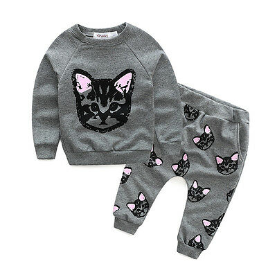 2pcs Toddler Kids Baby Girls Cat Sweatshirt Tops+Long Pants Clothes Outfit Sets