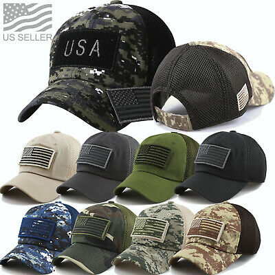 USA Military Camo US Flag Baseball Cap Mesh Trucker Tactical Operator Army Hat