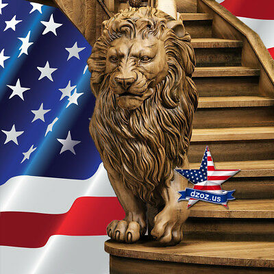 ❤️️sculpture lion for stairs✅Carved Wood 3D statue figure picture art furniture
