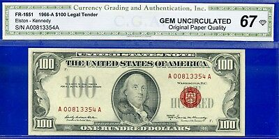FR-1551 1966-A $100 US Note (( Red Seal )) Superb-Gem Uncirculated # A00813354A