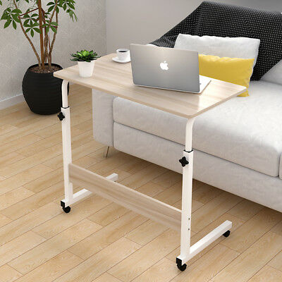 60x40cm Adjustable Portable Sofa Bed Side Table Laptop Desk with 4 Wheels