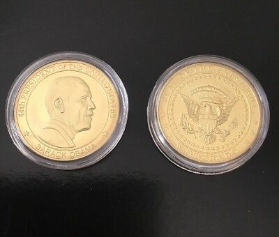 President Obama Challenge Coin 44th President Eagle Seal Gold Tone In Clear Case