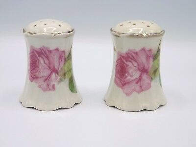 Royal Austria Salt & Pepper Shakers Antique Shabby Roses Hand Painted Porcelain
