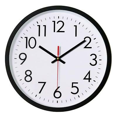 Black Wall Clock, Silent Non-Ticking 12 Inch Quality Quartz Battery-Operated