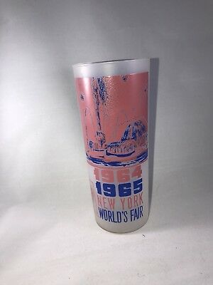 1964-1965 New York World's Fair Frosted Drinking Glass Pool Of industry