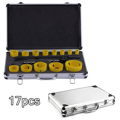 17pc19-76mm Aluminum suitcase bimetal hole saw kit hole cutter set for tradesmen