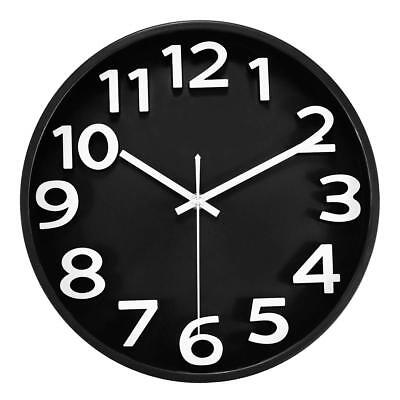 Foxtop 12'' Large Silent Non-Ticking Quartz Black Wall Clock Battery Operated