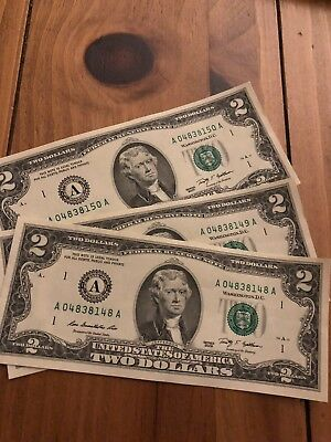 Uncirculated $2 Two Dollar bills - 2009- *NEW* Lucky Sequential Serial USD Crisp