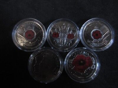 5 X Canada Remembrance Day  2004 2005 2008 2010 2015  25 Cent Coin  en-capsules