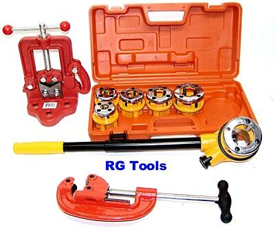 Pipe Threader Ratchet Type with 6 dies + Pipe Cutter # 2 + Clamp on Pipe Vise #1