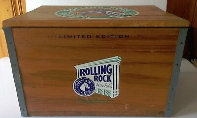 Rolling Rock Beer Vintage Wooden Cooler #992/4000 With Checker Board