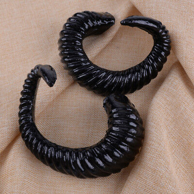 1 Pair Large Black Simulated Ram Horns DIY Material for Xmas Cosplay Headpieces