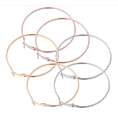 3 Pairs Women Gold Silver Mental Big Circle Smooth Large Ring Hoop Earrings Chic