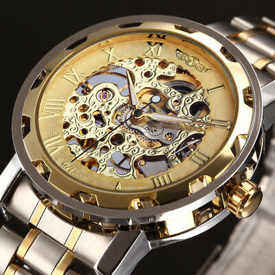 WINNER Mechanical Stainless Steel Transparent Skeleton Classic Hand Wind Watch