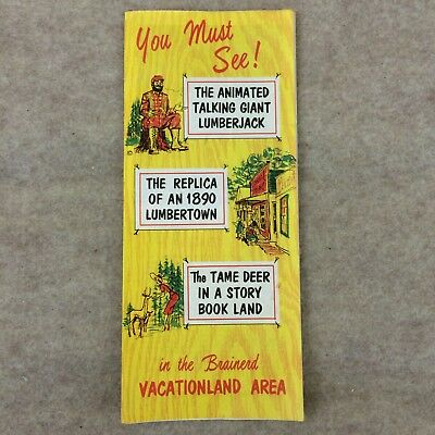 Vtg Brainerd Minnesota Vacation Brochure Paul Bunyan Lumberjack Pamphlet