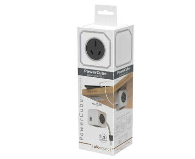 Allocacoc-PowerCube 1.5m Extended USB 4 Power Outlets and 2 USB Ports Grey