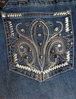 EARL JEANS Embellished pockets Bling  Slim Boot 20,22 W NEW